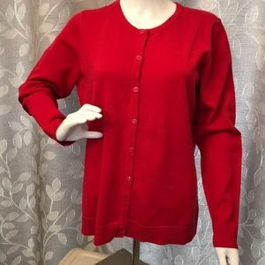 Christopher & Banks Red Lightweight Cardigan